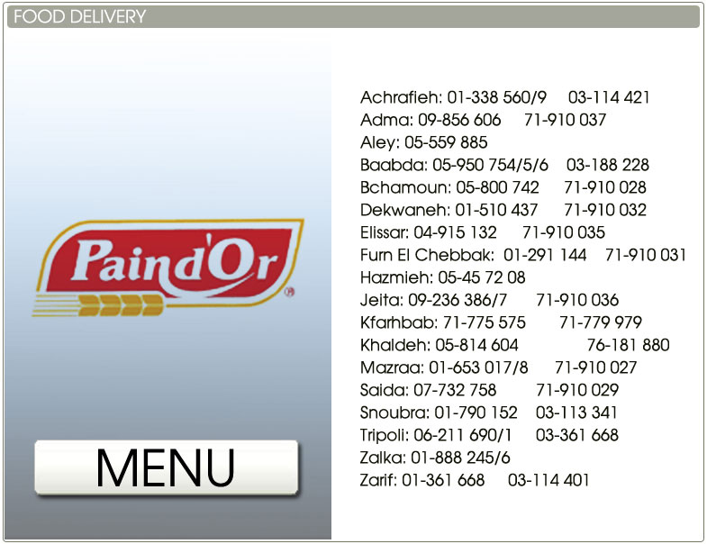 Paindor Delivery Number Lebanon